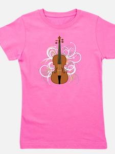 Violin Swirls (for dark colours) Girl's Tee