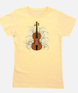 Violin Swirls (for dark colours) Girl's Tee