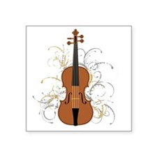 "Violin Swirls (for dark col Square Sticker 3"" x 3"""