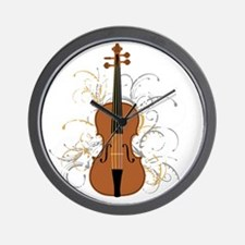 Violin Swirls (for dark colours) Wall Clock