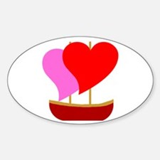 Sail Boat Love Oval Decal