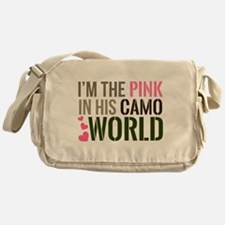 Im the Pink in his Camo World Messenger Bag