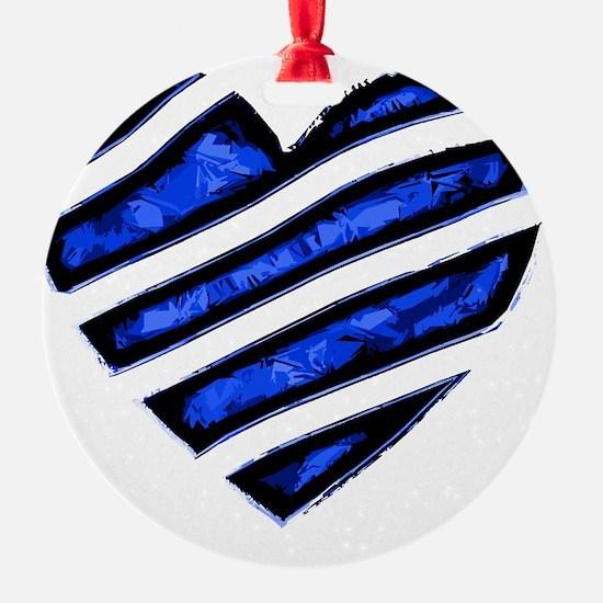 Blue stripes Heart Ornament