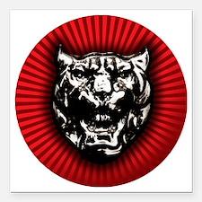 """Vintage style Jaguar hea Square Car Magnet 3"""" x 3"""""""