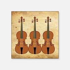 "Three Violins Square Sticker 3"" x 3"""