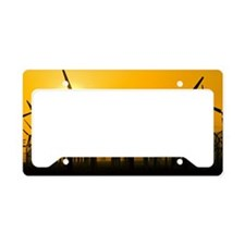 Wind turbines at sunset License Plate Holder