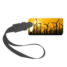 Wind turbines at sunset Luggage Tag