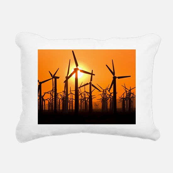 Wind turbines at sunset Rectangular Canvas Pillow