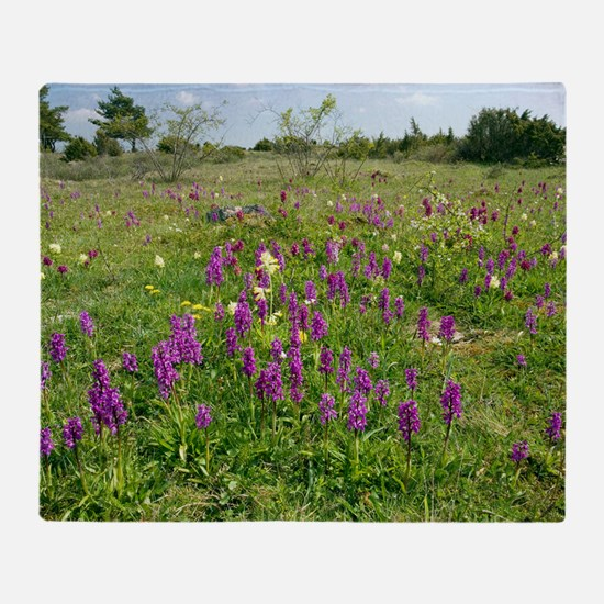 Wild orchids and cowslips Throw Blanket