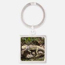 Spiny the Lizard Smiling Square Keychain