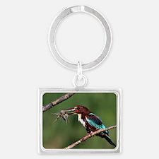 White-throated kingfisher Landscape Keychain