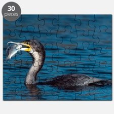 White-breasted cormorant with fish Puzzle