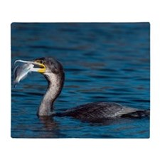 White-breasted cormorant with fish Throw Blanket