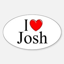 """I Love (Heart) Josh"" Oval Decal"