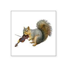"""Squirrel Violin Square Sticker 3"""" x 3"""""""