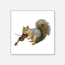 "Squirrel Violin Square Sticker 3"" x 3"""