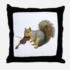 Squirrel Violin Throw Pillow