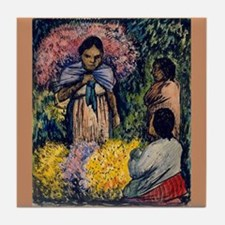 Diego Rivera Art Tile Coaster Flower Market