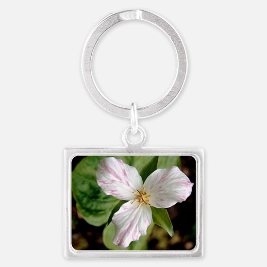 Wake robin (Trillium grandiflor Landscape Keychain