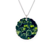 Volvox colonies, light micro Necklace Circle Charm