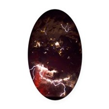 Volcanic lightning, Iceland, April Oval Car Magnet