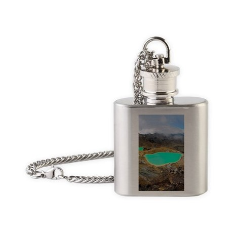 Volcanic lakes, New Zealand Flask Necklace