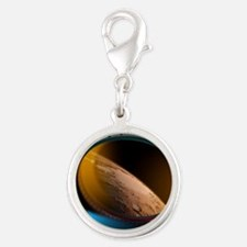View of Mars from an orbiting  Silver Round Charm