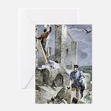Vesalius stealing a skeleton, artwor Greeting Card