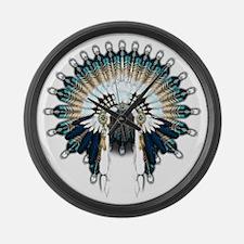 Native War Bonnet 02 Large Wall Clock