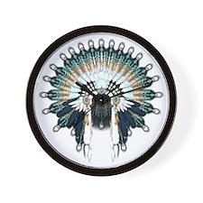 Native War Bonnet 02 Wall Clock