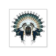 "Native War Bonnet 02 Square Sticker 3"" x 3"""