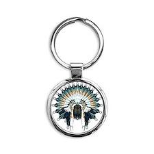 Native War Bonnet 02 Round Keychain