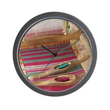 Various threads on weaving loom Wall Clock