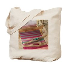 Various threads on weaving loom Tote Bag