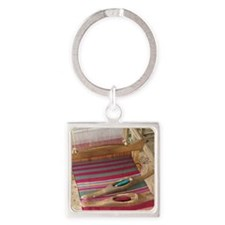 Various threads on weaving loom Square Keychain