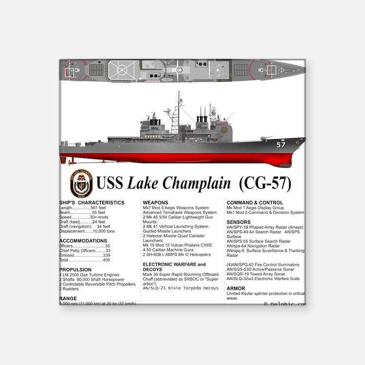 "USS Lake Champlain (CG-57) Square Sticker 3"" x 3"""