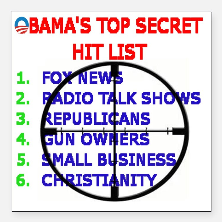 "OBAMAS HIT LIST Square Car Magnet 3"" x 3"""