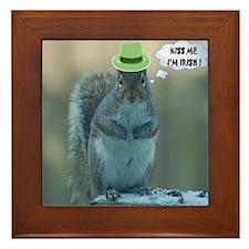 Big Fat Squirrel says KISS ME Framed Tile