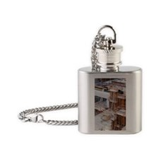 Underpass construction in Paris Flask Necklace