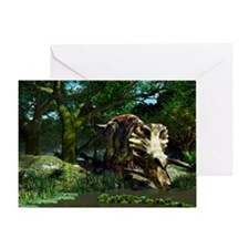 Triceratops drinking at a pond, artw Greeting Card