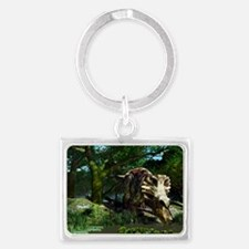 Triceratops drinking at a pond, Landscape Keychain