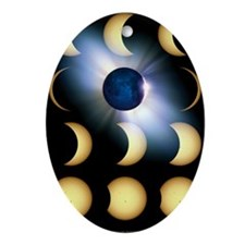 Total solar eclipse, artwork Oval Ornament