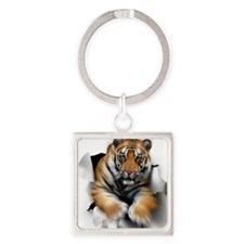 Tiger, artwork Square Keychain