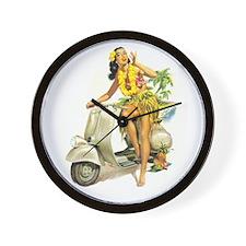 Pin-Up Hula Girl Wall Clock