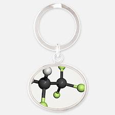 Tetrafluoroethane molecule Oval Keychain