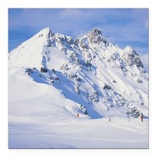 """panoramic view of a snow Square Car Magnet 3"""" x 3"""""""