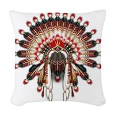 Native War Bonnet 03 Woven Throw Pillow