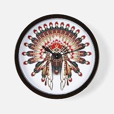 Native War Bonnet 03 Wall Clock