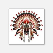 "Native War Bonnet 03 Square Sticker 3"" x 3"""