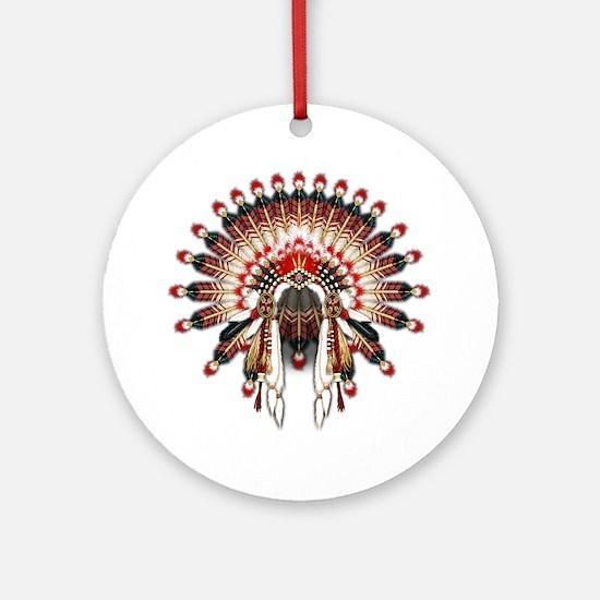 Native War Bonnet 03 Round Ornament